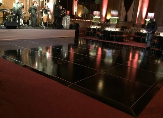 Glossy black dance floor