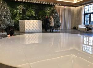 Glossy round white dance floor