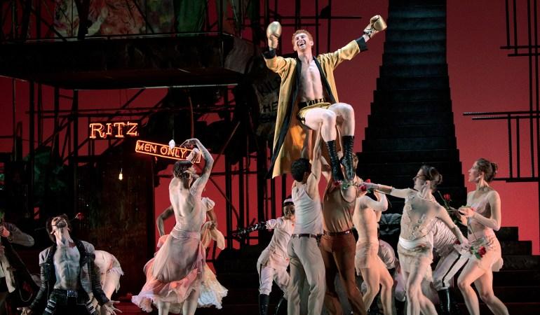 John Welker (Gutman) kneeling, Heath Gill (Kilroy) centre and artists of Atlanta Ballet in Helen Pickett's Camino Real Photo: Charlie McCullers