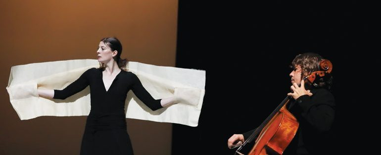 Marie-Agnès Gillot and Jean-Paul Dessy in Carolyn Carlson's Black Over Red (My Dialogue with Rothko)  Photo: Amitava Sarkar