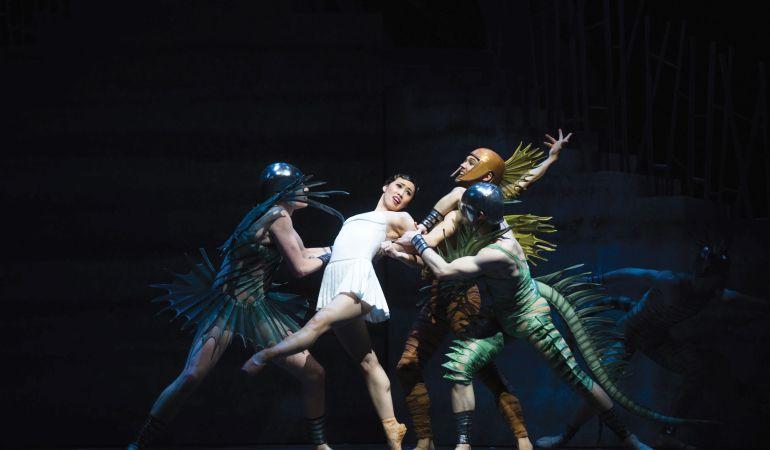 Australian Ballet's Ako Kondo (centre) in Stanton Welch's Sylvia Photo: Jeff Busby