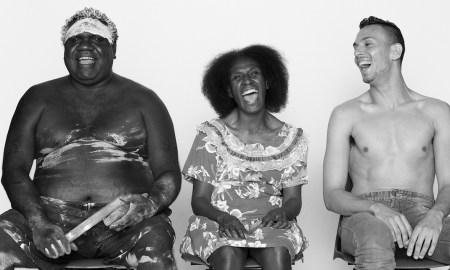 Choreographers Djakapurra Munyarryun, Elma Kris and Kaine Sultan Babij for Bangarra Dance Theatre's 'ONES COUNTRY'. Photo by Edward Mulvihill.