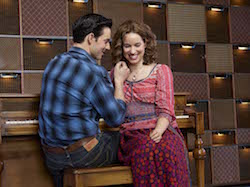 Scott J. Campbell and Chilina Kennedy as Gerry Goffin and Carole King in the Broadway production of 'Beautiful: The Carole King Musical'. Photo by Zachary Maxwell Sterz.