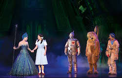 Lucy Durack, Samantha Dodemaide, Alex Rathgeber, John Xintavelonis and Eli Cooper in 'The Wizard of Oz'. Photo by Jeff Busby.