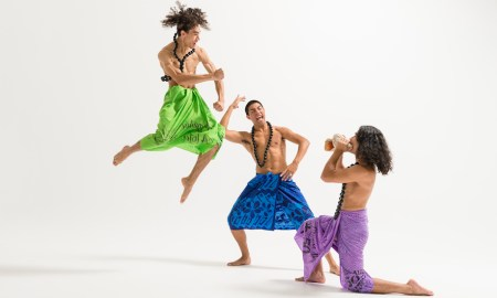 NZSD contemporary dance students Chris Clegg, Laifa Ta'ala and Braedyn Humphries. Photo by Stephen A'Court.