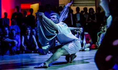 Alisdair MacIndoe in Lucy Guerin's choreography at WXYZ Studios Launch Event. Photo by Bryony Jackson.