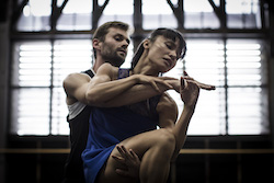 SDC dancers Bernhard Knauer and Charmene Yap in rehearsal for 'Quintett'. Photo by Peter Greig.