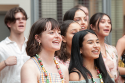 New Zealand School of Dance students singing their school song at the 2020 graduation ceremony. Photo by Joyful Dance Photography.