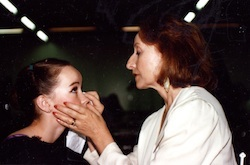 Tanya Pearson (right) applies makeup to Lucinda Dunn, her former student.