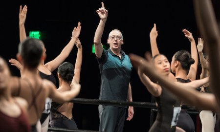 New Zealand School of Dance Director Garry Trinder teaching on stage at the Asian Grand Prix in Manila 2019. Photo by Eric Hong.