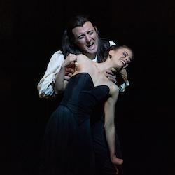 Matthew Lehmann as Young Dracula and Carina Roberts as Mina in Dracula (2020). Photo by Bradbury Photography.