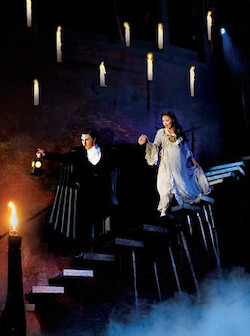 Earl Carpenter as The Phantom and Katie Hall as Christine. Photo by Alastair Muir, courtesy of Opera Australia.