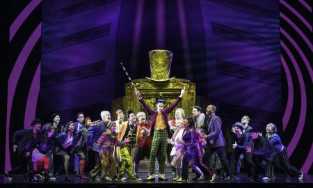 Paul Slade Smith and cast in 'Charlie and the Chocolate Factory'. Photo by Brian Geach.