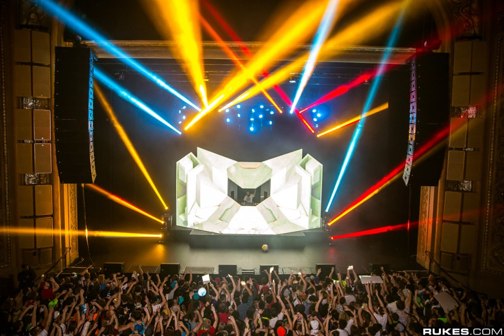 Excision performing at the Paramount Theatre in Seattle (2013, Photo Credit: RUKES)