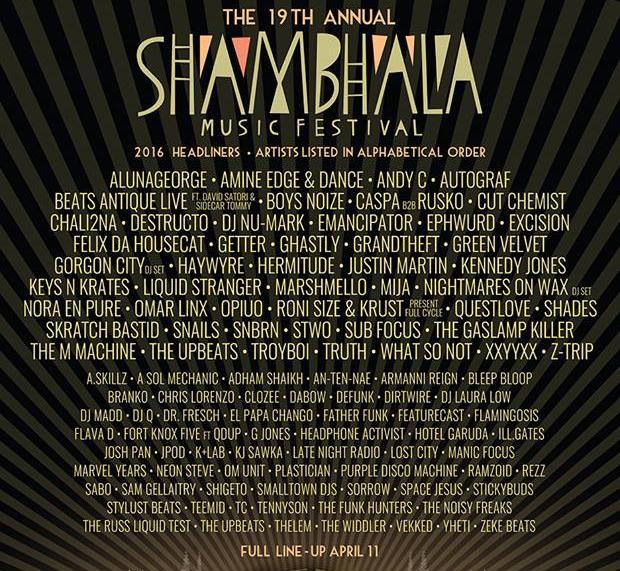 Shambhala 2016 Lineup