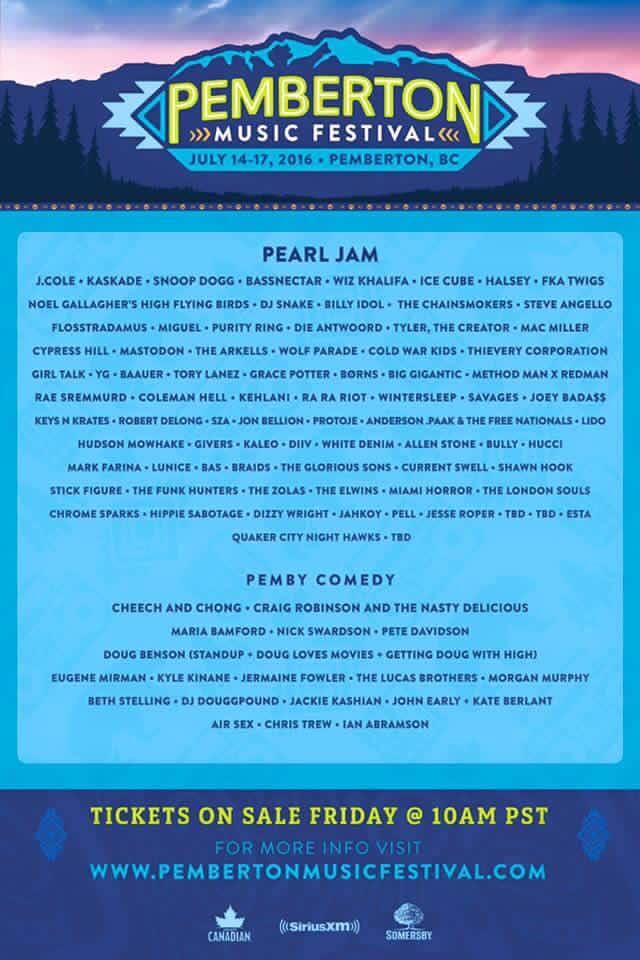 Pemberton Music Festival Lineup 2016