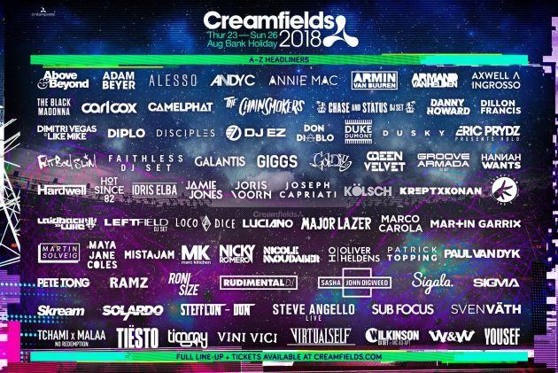 Creamfields 2018 lineup poster