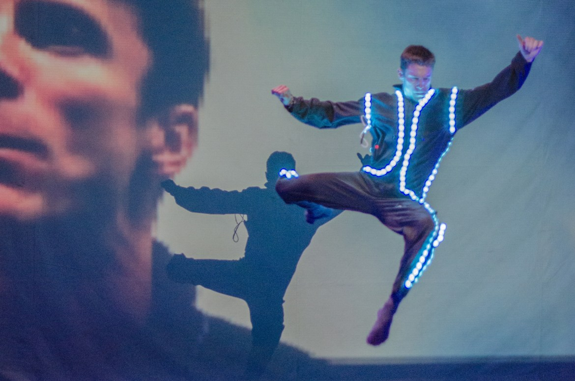 """Mark Hackman in Chicago Dance Crash's """"Tron: End of Line"""" (Photo by Johnny Nevin)"""