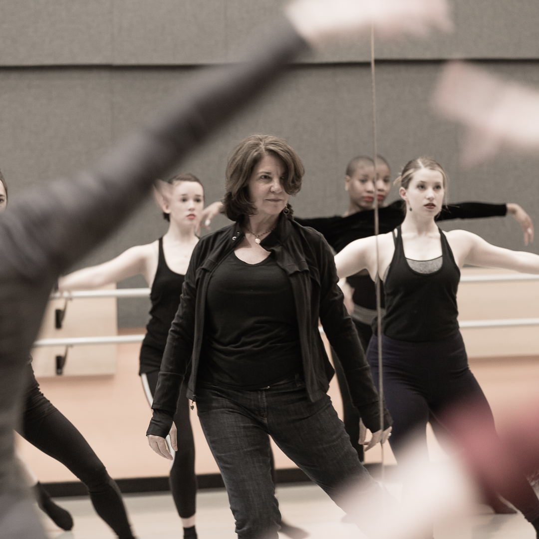 """Sherry Zunker rehearing with Cerqua Rivera Dance Theatre for """"Between Us"""" (Photo by Leni-Manaa-Hoppenworth)"""