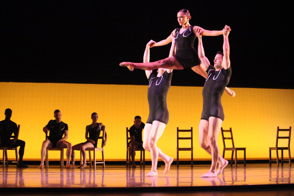 Giordano Dance Chicago - Tossed Around by Ray Mercer -Dancers (left to right): Adam Houston, Zachary Heller, Jacob Frazier and Ashley Downs (Gorman Cook Photography)