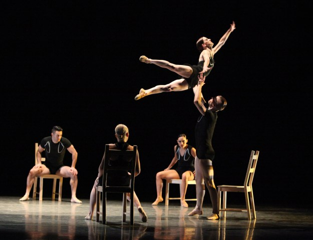 Giordano Dance Chicago -Tossed Around by Ray Mercer - Dancers (left to right): Zachary Heller, Katie Rafferty, Ashley Downs, Natasha Overturff (airborne) and Adam Houston (Gorman Cook Photography)