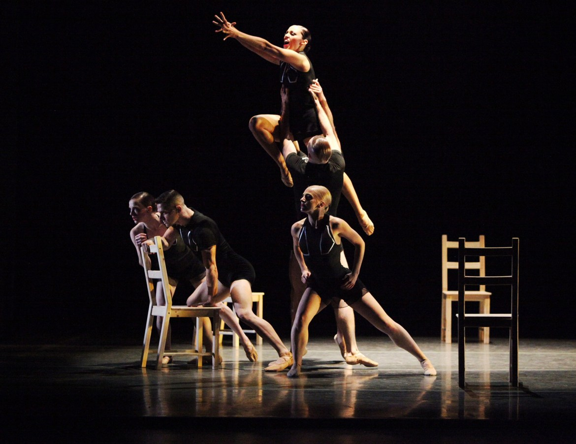 Giordano Dance Chicago Tossed Around by Ray Mercer Dancers (left to right): Natasha Overturff, Jacob Frazier, Ashley Downs (airborne), Adam Houston and Katie Rafferty (Gorman Cook Photography)
