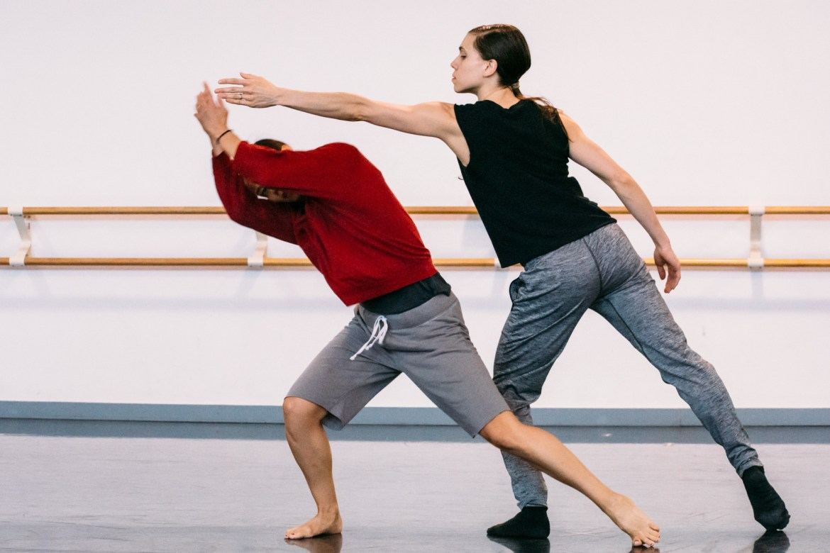"""Jacqueline Burnett and Robyn Mineko Williams in rehearsal for Robyn Mineko Williams' Echo Mine, photographed by Chloe Hamilton. From the DancerMusic.com story by Johnny Nevin, """"INSIDE: Robyn Mineko Williams and """"Echo Mine"""" at Dance for Life 2019"""", in which Robyn talks about creating the piece with legendary dancer, teacher and founding member of Hubbard Street Dance Chicago, Claire Bataille."""