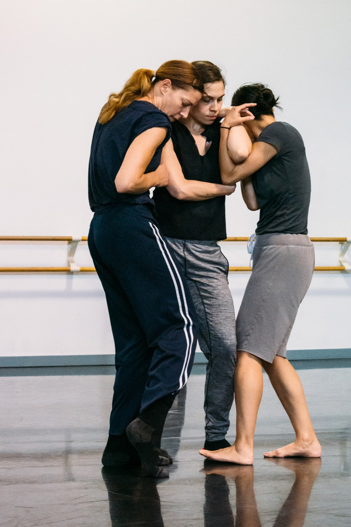 "Jacqueline Burnett, Meredith Dincolo and Robyn Mineko Williams in rehearsal for Robyn Mineko Williams' Echo Mine, photographed by Chloe Hamilton. From the DancerMusic.com story by Johnny Nevin, ""INSIDE: Robyn Mineko Williams and ""Echo Mine"" at Dance for Life 2019"", in which Robyn talks about creating the piece with legendary dancer, teacher and founding member of Hubbard Street Dance Chicago, Claire Bataille."