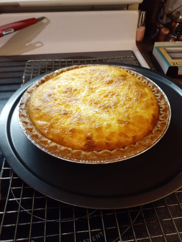 swiss cheese quiche all done and cooling off