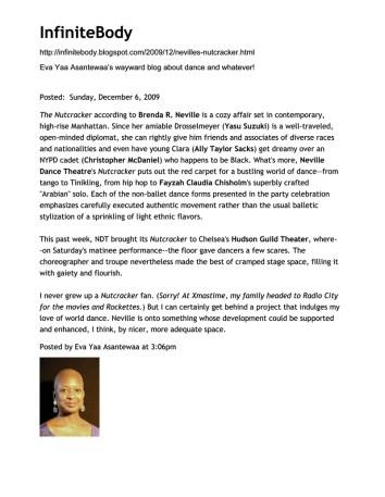 "Eva-Yaa-Asantewaa-Review - ""...Fayzah's superbly crafted Arabian solo."" - Neville Dance Theater's Nutcracker"