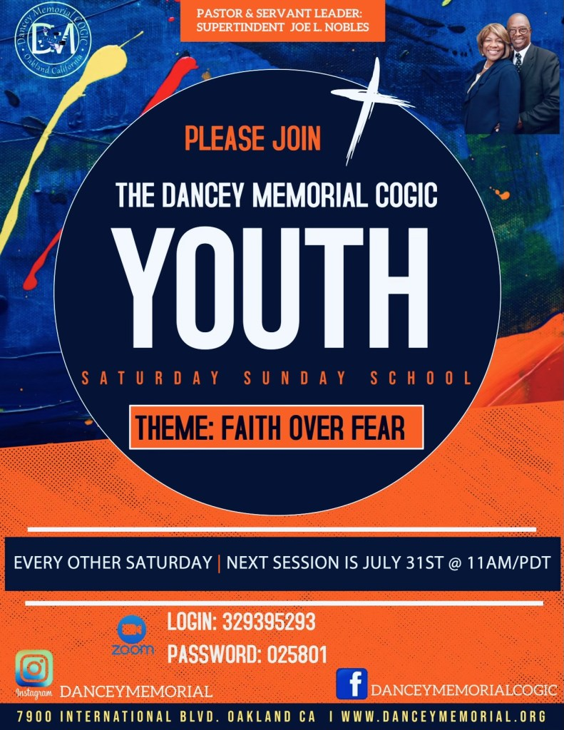 Dancey Memorial COGIC - Oakland CA | Youth Bible Study Flyer - July 31st