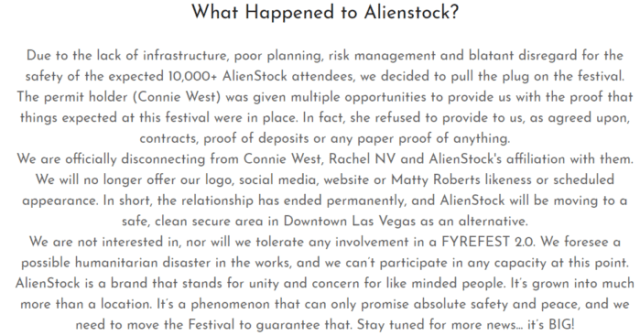 Area 51 festival cancelled on account of safety concernsAlienstock Statement