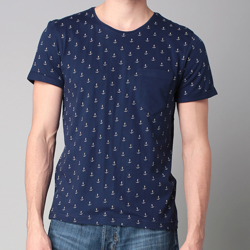 T-shirt-Tom-Tailor-Navy-imprimé-ancres
