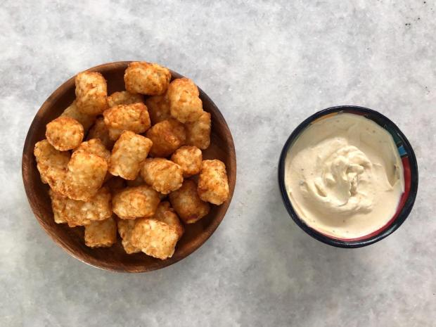 Dancing for Donuts | Spicy Mustard Greek Yogurt Dip (With Air Fried Tater Tots!)
