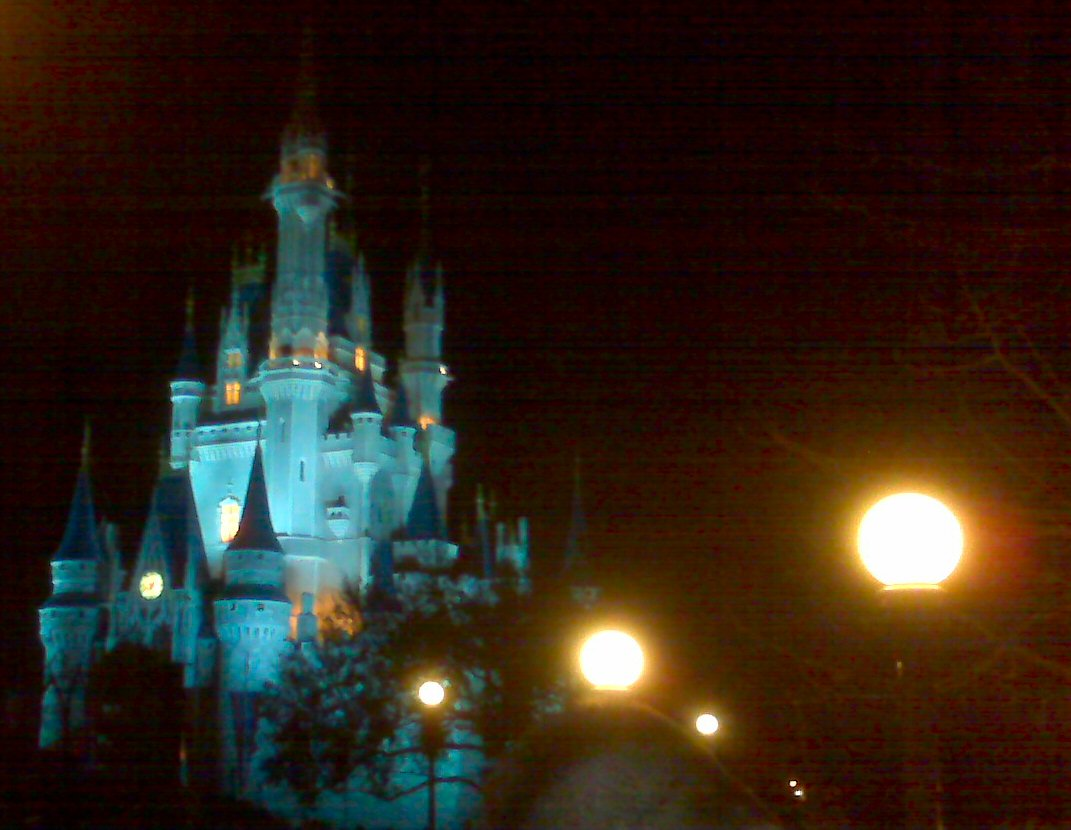 Cinderella's castle changed colors many times during the fireworks display