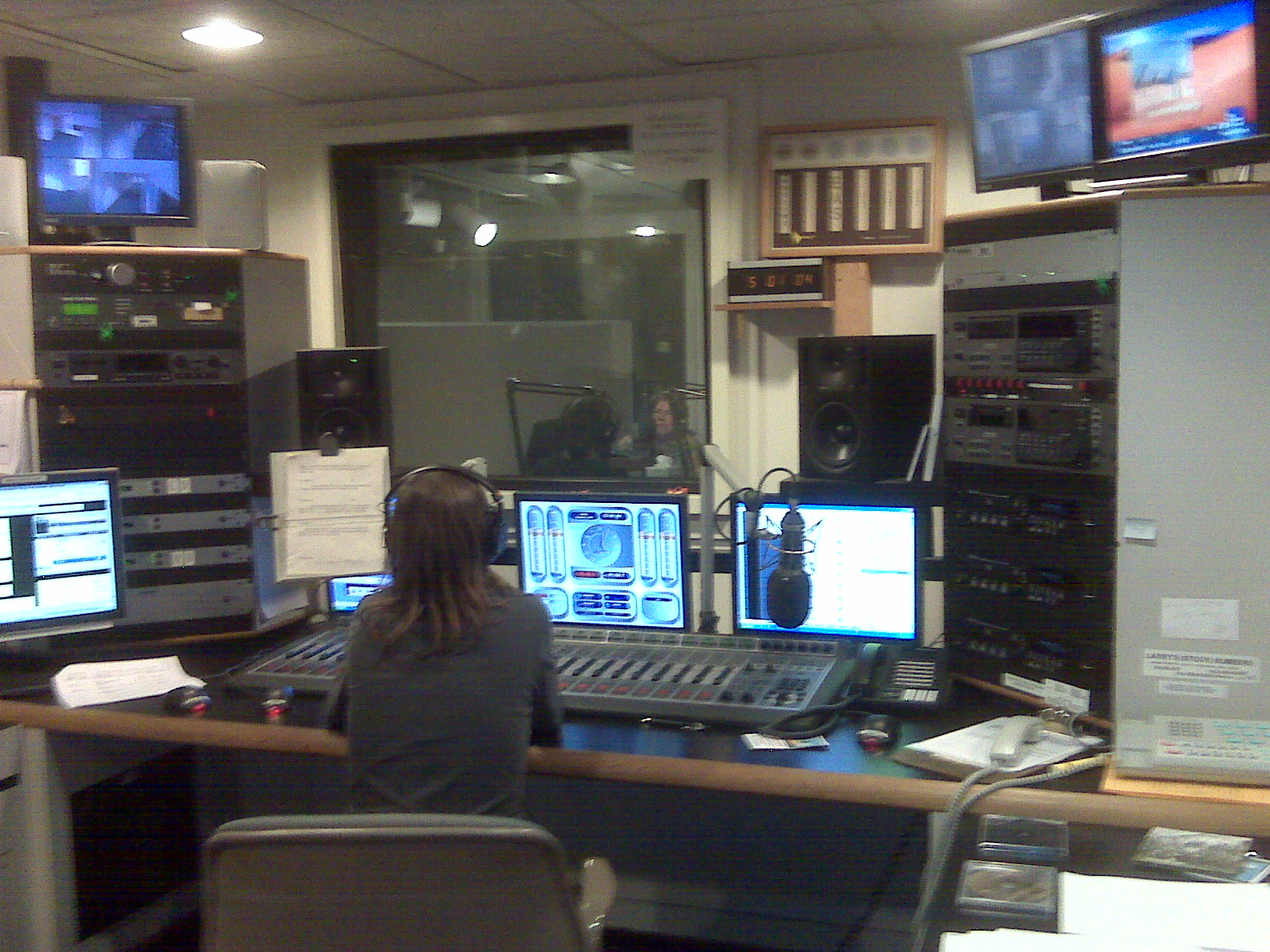 WUFT.  Kristin at the helm. Cathy through the glass in the booth.