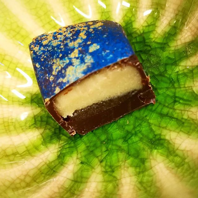 ONE LEMON DROP AT A TIME - Meyer lemon ganache on Meyer lemon jam cast in Itakuja Brazilian dark chocolate@valrhonafrance#chocolatier #meyerlemon #lemondrop #madeinmanchesternh
