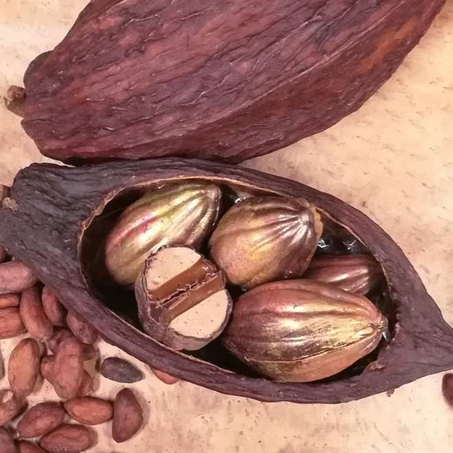MALLOWPOD - Spiced marshmallow and butter caramel cacao pod.#chocolatier #cacaopod #marshmallow #caramel