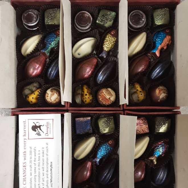 Making BONBON SHARING BOXES for the shop.Been shipping a few.The painted fish are our housemade Brazilian Catongo dark chocolate. #chocolatier #life #boxofchocolates