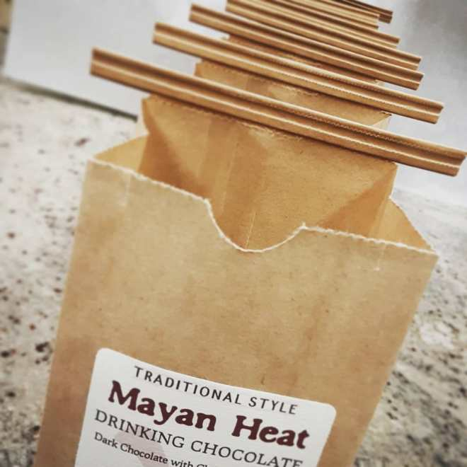 Filling MAYAN HEAT drinking chocolate bags for you to prepare at home.#chocolatier #drinkingchocolate #hotchocolate Technically, it's Olmec drinking chocolate. The Olmecs preceded the Mayans and made drinking chocolate at least 3-4,000 years ago.