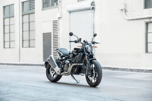"""The Indian FTR 1200 comes in basic black. It lacks the 1200 S Ride Command system and rider aids, and as such costs less. Considering it still has all the engine of the 1200 S, LED lighting, ABS, and cruise control, I'm willing to bet a lot of people will """"settle"""" for the standard model."""