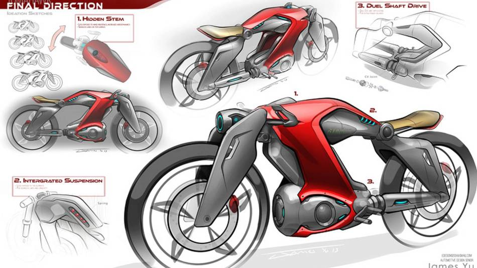 Design sketch imagining an electric Indian Motorcycle model