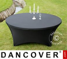 Stretch table cover, Ø183x74cm, Black