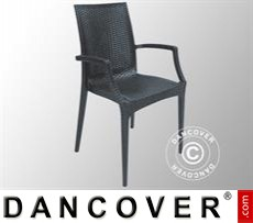 Chair with armrests, Rattan Bistrot, Anthracite, 6 pcs.