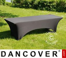 Stretch table Cover, 244x75x74 cm, Black