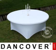 Stretch table cover, Ø183x74 cm, White