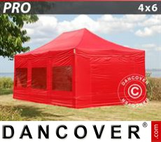 Party Marquee PRO 4x6 m Red, incl. 8 sidewalls