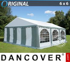 Party Marquee Original 6x6 m PVC, Grey/White