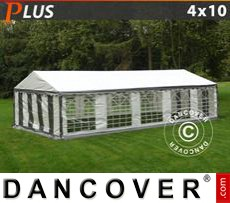 Party Marquee PLUS 4x10 m PE, Grey/White