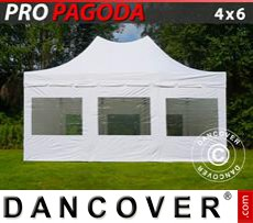 Pop Up Marquee PRO Peak Pagoda 4x6 m White, incl. 8 sidewalls